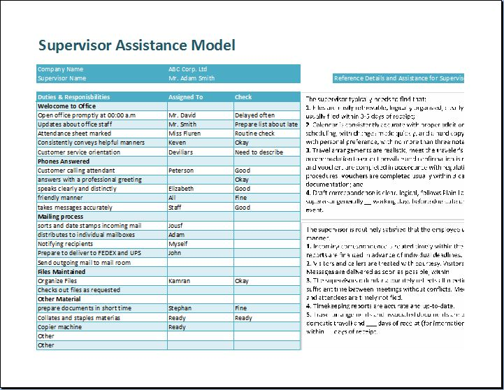 Supervisor Assistance Model Template Word Amp Excel Templates