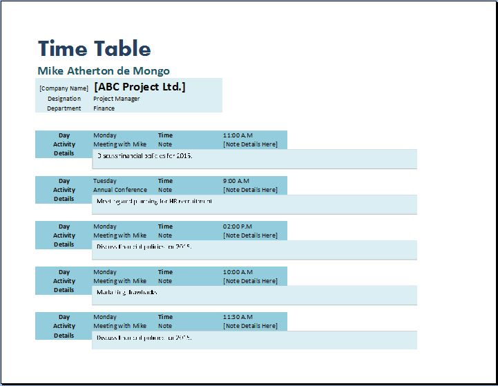 Creative Formal Design Timetable Template Word Excel Templates