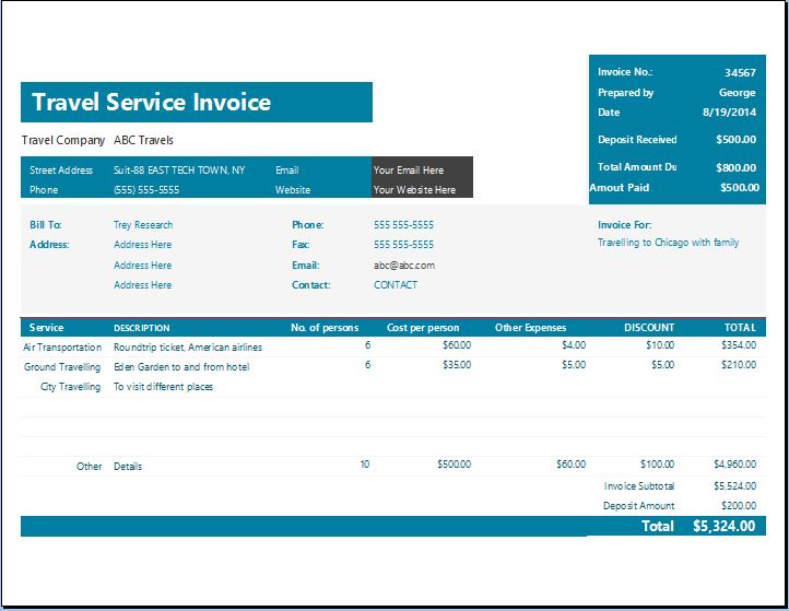 MS Excel Travel Service Invoice Template