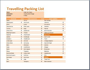 Printable Travelling Packing List