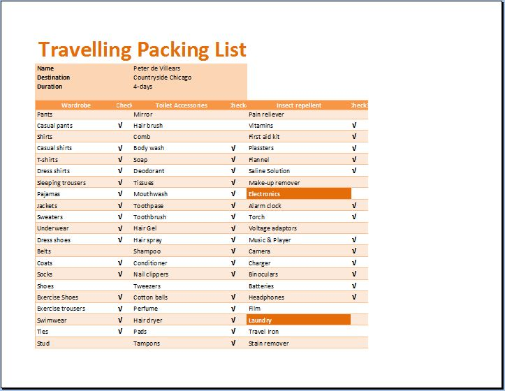 Printable Travelling Packing List Template  Word  Excel Templates
