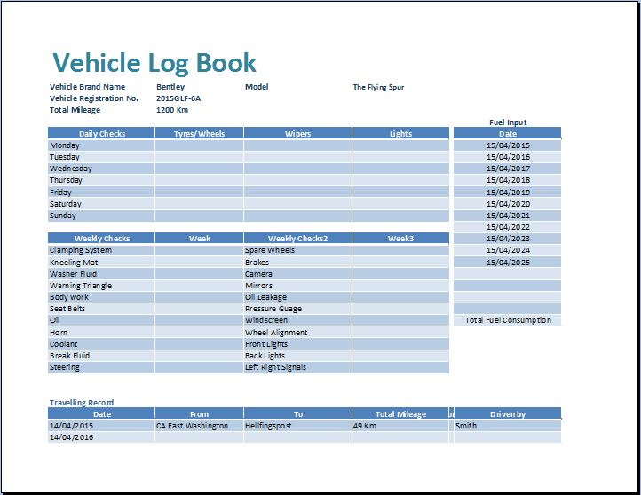 MS Excel Vehicle Log Book Template Word Excel Templates - Free ms excel templates