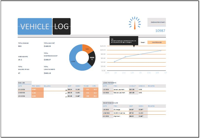 ms excel vehicle log book template word excel templates