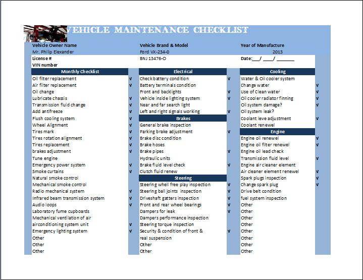 General Vehicle Maintenance Checklist