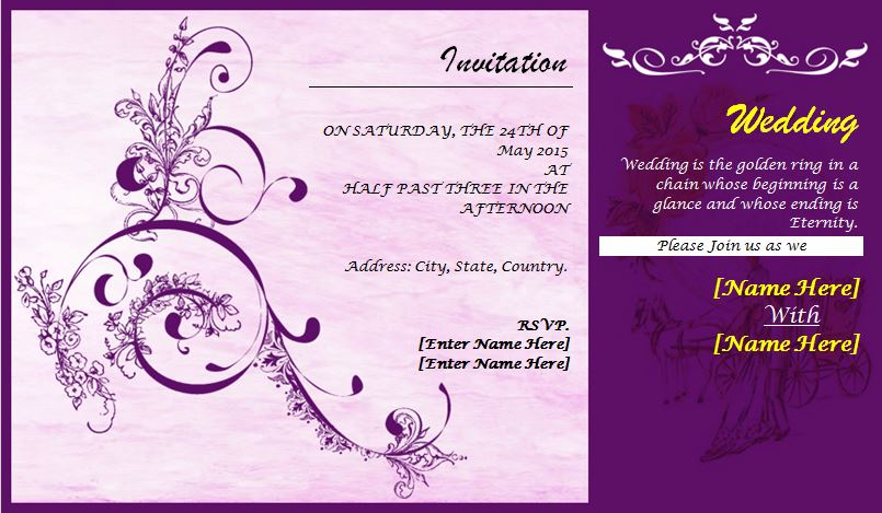 Professionally Design Wedding Invitation Card Template  Format For Invitation