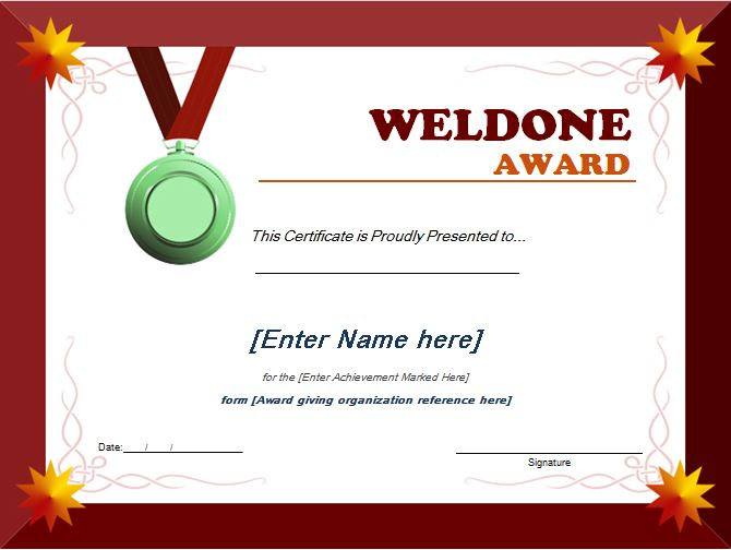 Well Done Award Certificate Template  Word  Excel Templates