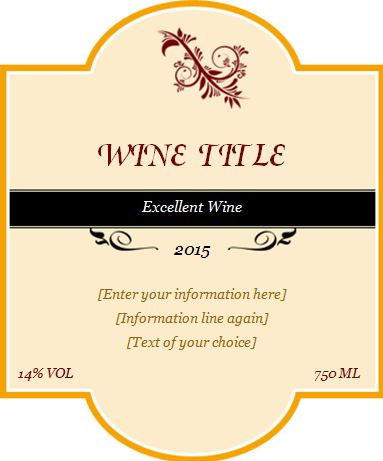 Custom design wine label template word excel templates for Avery wine label templates
