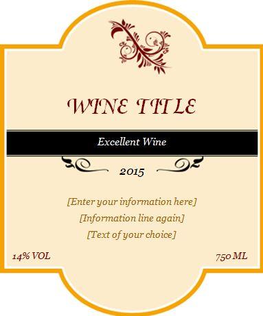 Custom Design Wine Label Template