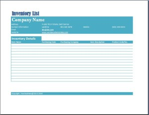 Formal Business Inventory List Template