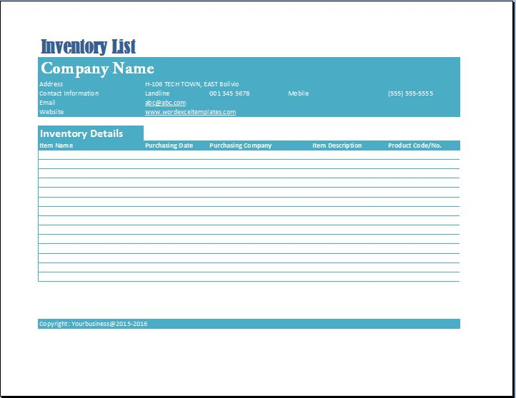 Formal Business Inventory List Template  Word  Excel Templates