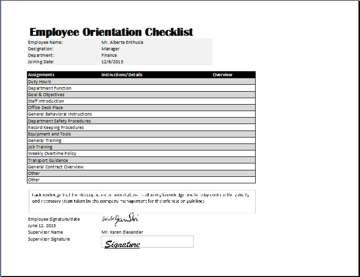 Employee Orientation Checklist Template