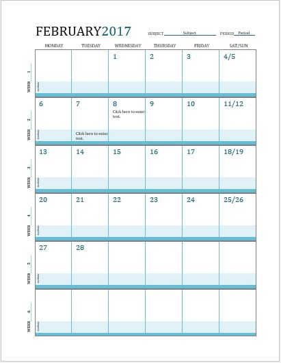 Lesson Planner Calendar for MS Word