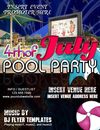 Th Of July Pool Party Flyer  Word  Excel Templates