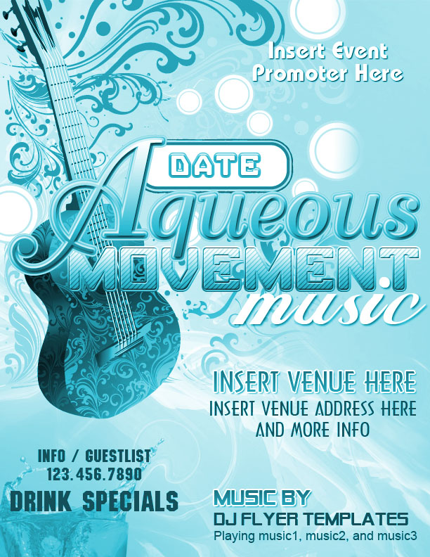 Aqueous Movement Music Flyer