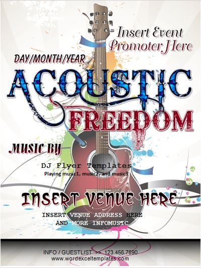 Acoustic Freedom Music Event Flyer Template