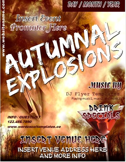 Ms Word Autumn Music Event Flyer Template Word Excel Templates