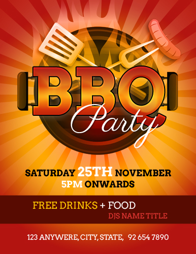 Backyard Barbecue BBQ Party Flyer Template | Word & Excel ...