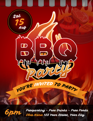backyard barbecue bbq party flyer template