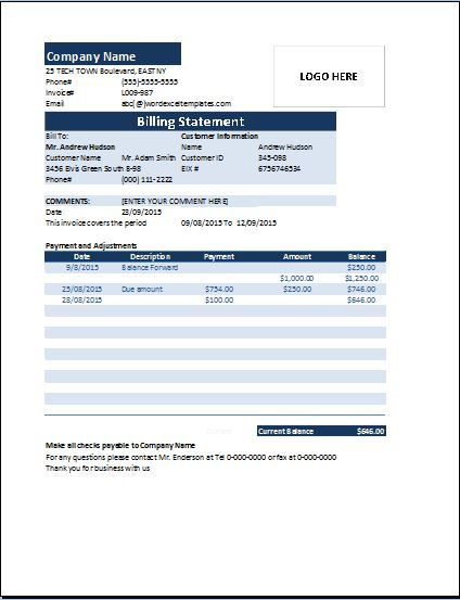 Ms Excel Billing Statement Invoice  Word  Excel Templates