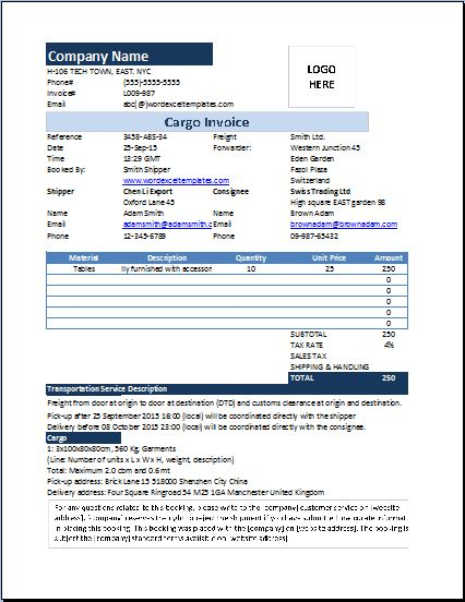 MS Excel Cargo Invoice Template
