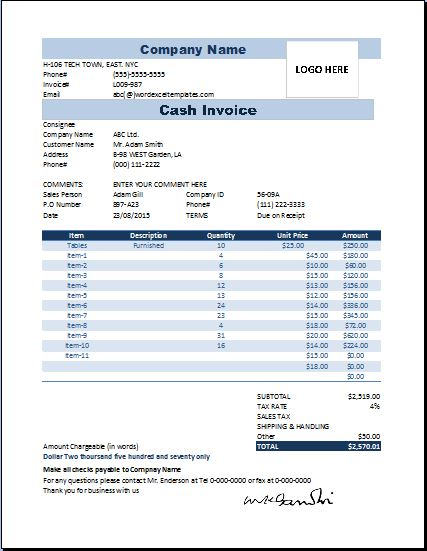 Proatmealus  Wonderful Printable Excel Business Cash Invoice Template  Word Amp Excel  With Engaging Cash Invoice Template With Amusing Invoice Template Contractor Also Invoice Print Out In Addition Invoice How To And Credit Card Invoice Template As Well As Best App For Invoices Additionally Rent Invoice Template Free From Wordexceltemplatescom With Proatmealus  Engaging Printable Excel Business Cash Invoice Template  Word Amp Excel  With Amusing Cash Invoice Template And Wonderful Invoice Template Contractor Also Invoice Print Out In Addition Invoice How To From Wordexceltemplatescom