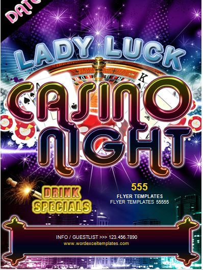 ms word casino night flyer template
