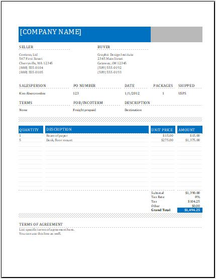 Commercial Invoice Template for Excel