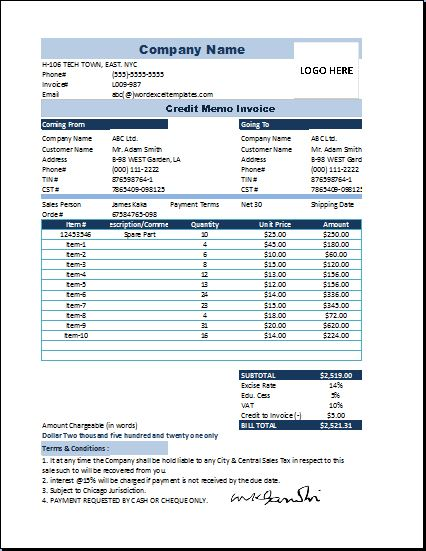 Ms Excel Credit Memo Invoice Template | Word & Excel Templates