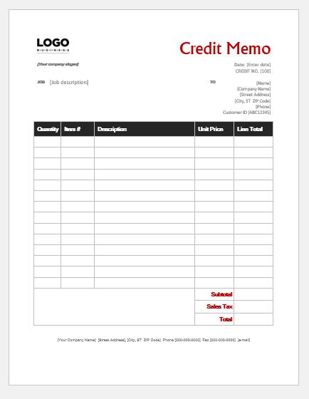 Credit memo invoice template