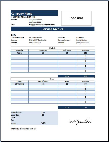 MS Excel Customer Service Invoice