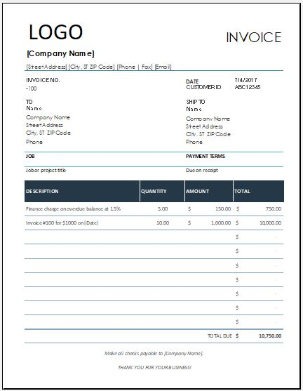 Finance Charge Invoice Template