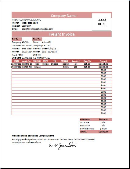 Amatospizzaus  Winsome Ms Excel Freight Invoice Template  Word Amp Excel Templates With Likable Freight Invoice Template With Divine Commercial Invoice For Customs Also Ford Explorer Invoice Price In Addition Simple Invoice Template Pdf And Invoice Free Download As Well As Free Billing Invoice Additionally Construction Invoice Sample From Wordexceltemplatescom With Amatospizzaus  Likable Ms Excel Freight Invoice Template  Word Amp Excel Templates With Divine Freight Invoice Template And Winsome Commercial Invoice For Customs Also Ford Explorer Invoice Price In Addition Simple Invoice Template Pdf From Wordexceltemplatescom