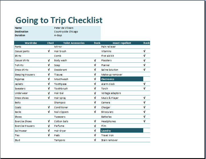 ms excel going to trip checklist template