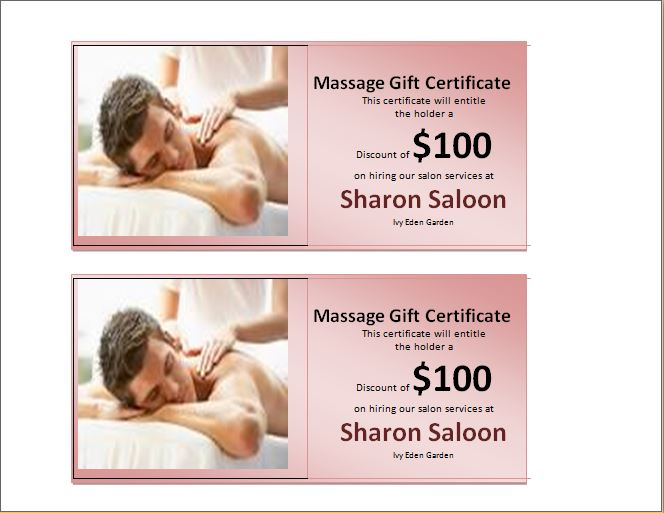 Word Massage Therapy Gift Certificate Template | Word & Excel ...