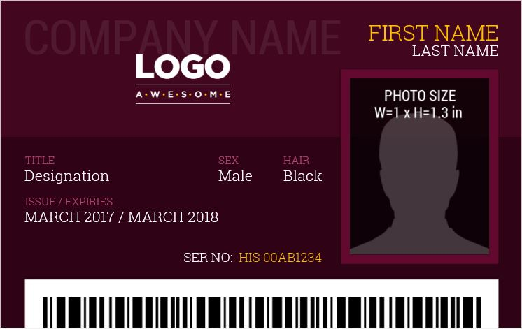 Photo ID Badge for MS Word
