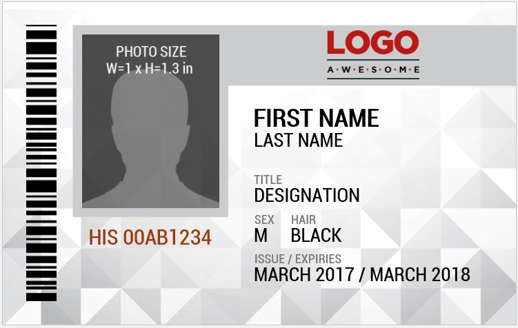Photo ID Badge Sample for MS Word