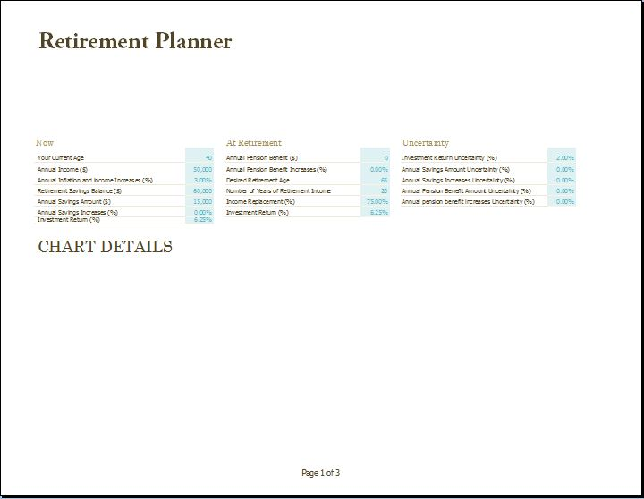 MS Excel Retirement Financial Planner Template – Retirement Planning Worksheet