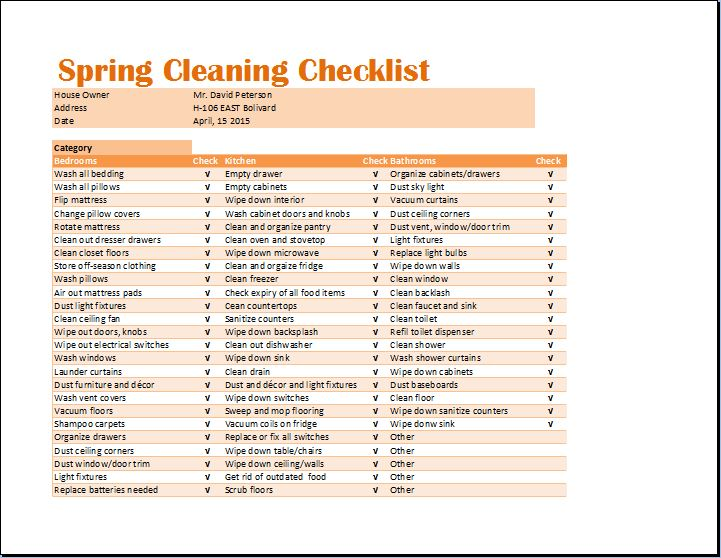 ms excel spring cleaning checklist template
