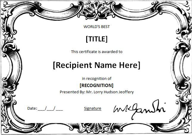 MS Word Worlds Best Award Certificate Template – Award Word Template