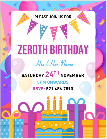 Zeroth birthday flyer sample