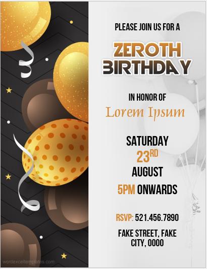 Zeroth birthday flyer
