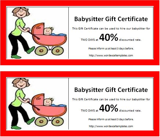 Babysitter Gift Certificate Template  Microsoft Office Gift Certificate Template