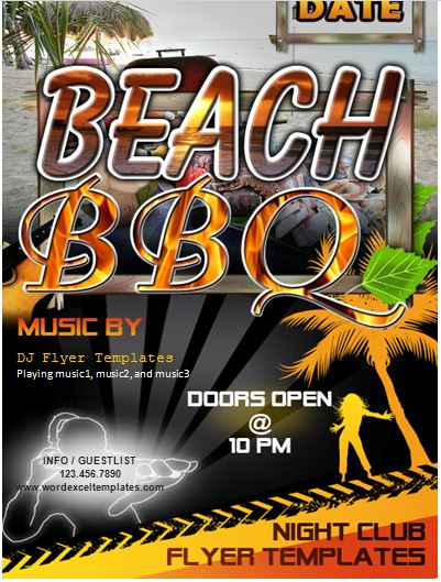Beach Barbecue Bbq Party Flyer Word Template  Word  Excel Templates