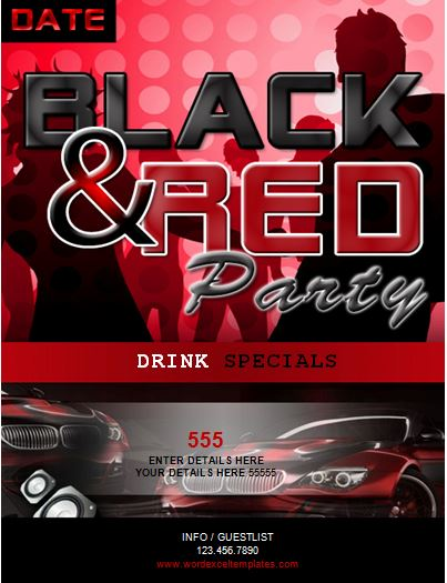 ms word black and red party flyer template