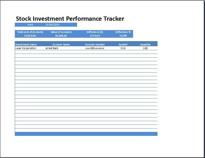 stock investment performance tracker word excel templates