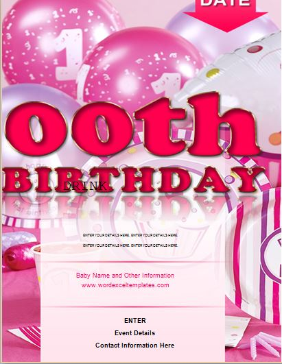 ms word zeroth birthday flyer template word excel templates