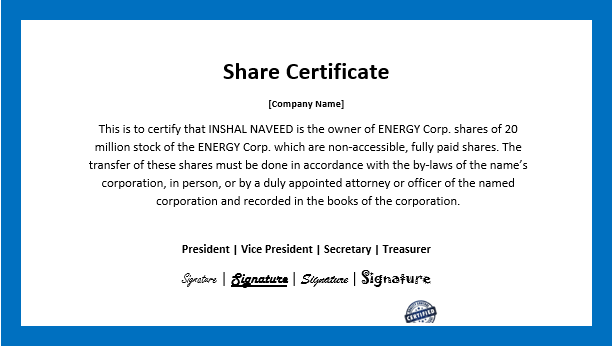 Business Share Certificate Template