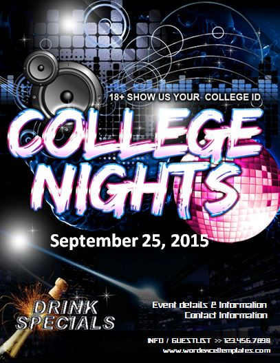 ms word college night party flyer template word excel templates