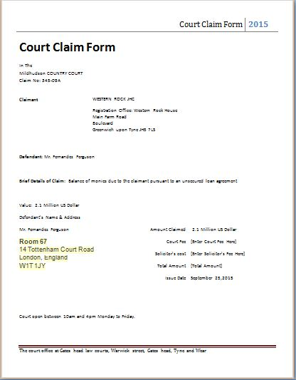 Ms Word Court Claim Form Template | Word & Excel Templates