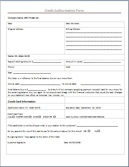 Credit Authorization Form
